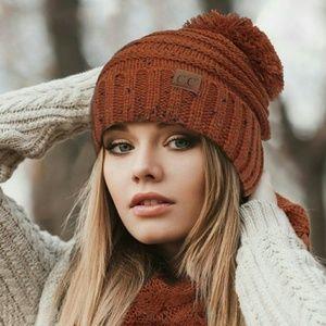 49ce1b95bab5c C.C Accessories | Cc Brand Oversize Cable Knit Confetti Pom Pom Hat ...